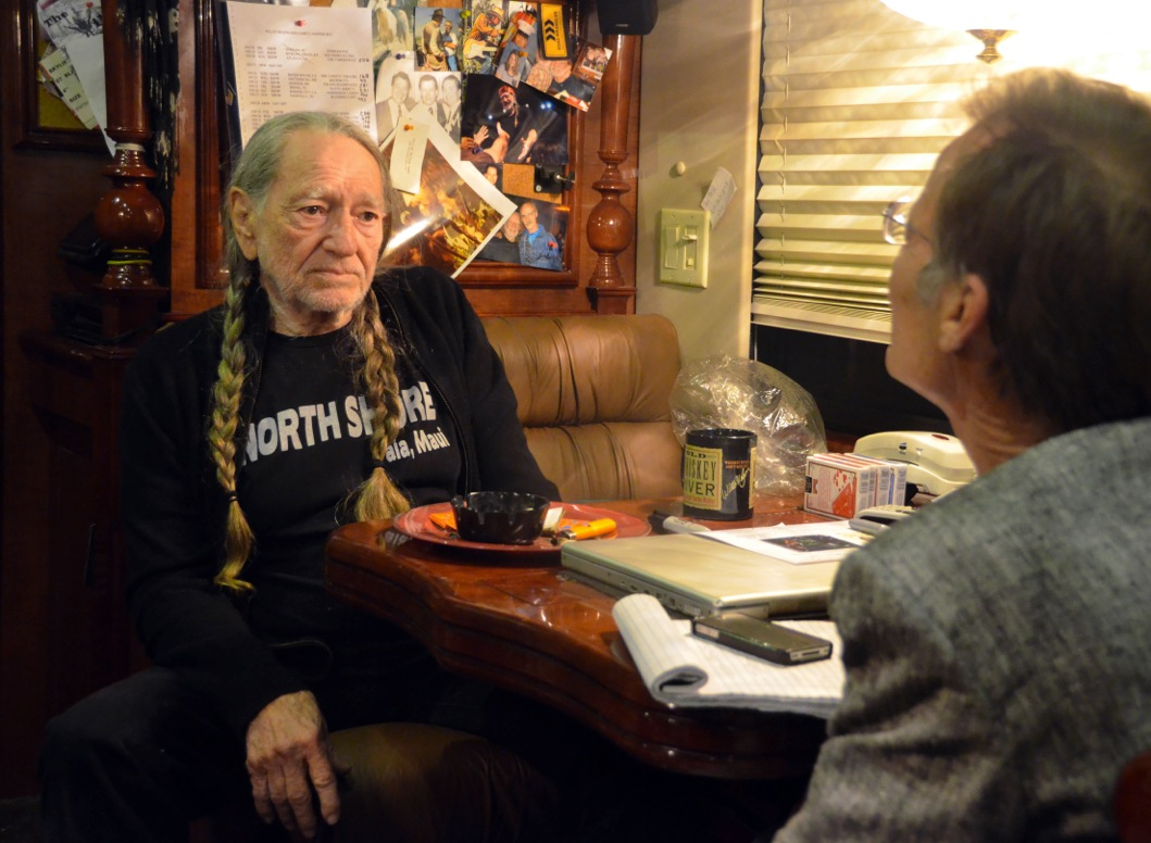 Caption: Willie Nelson being interviewed by host Joe Nick Patoski, Austin Texas, Credit: Joe Nick Patoski, KRTS.