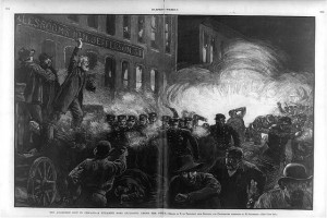 Caption: Woodcut of the 1886 Haymarket Square Bombing., Credit: Harper's Weekly, LOC.