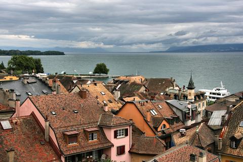 Caption: Nyon, Lake Geneva, Switzerland