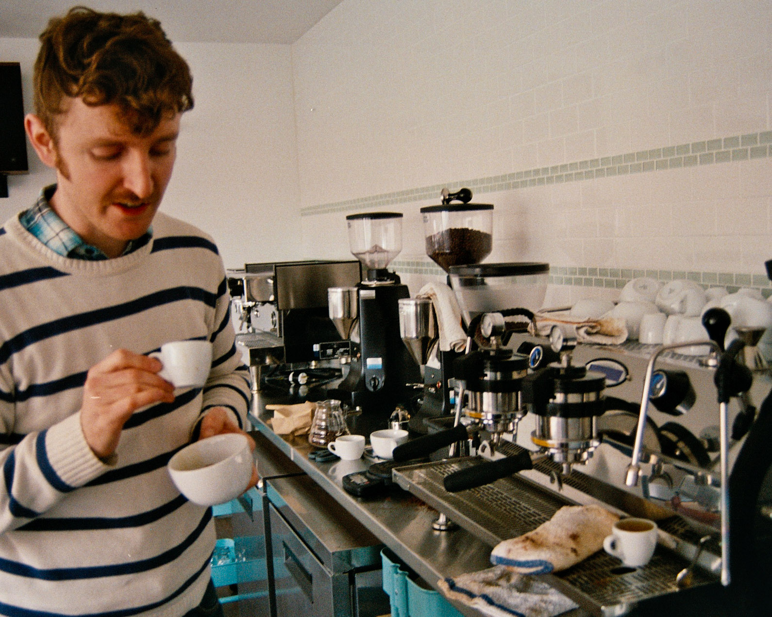 Caption: Brian Gelletly training for the 2013 Barista Championship, Credit: Alex Lewis