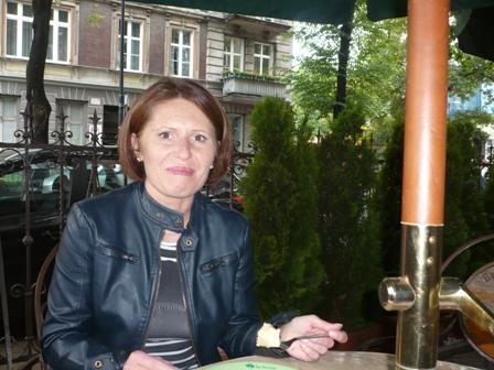 Caption: Ewa at her favorite restaurant in Opole, Credit: Anton Foek