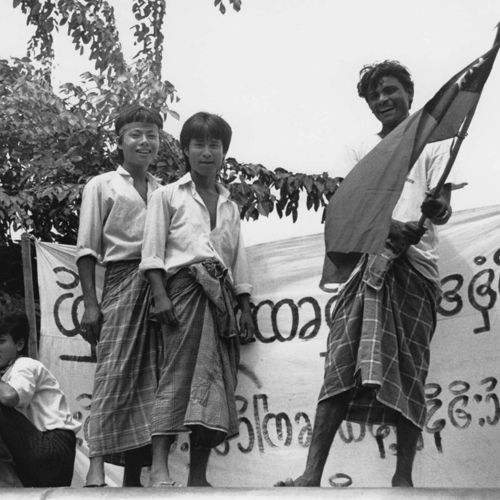 Caption: Burmese demonstrators in 1988., Credit: Gaye Paterson