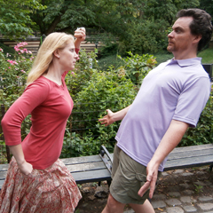 Caption: Tim and Tanya Chartier present a classic mime stance in Central Park, NYC., Credit: Ari Daniel