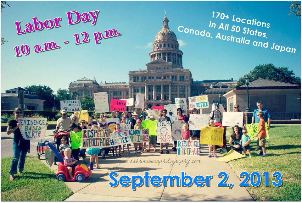 """Caption: A gathering for the """"Rally To Improve Birth"""" in front of the Austin TX. Capitol Building., Credit: rallytoimprovebirth.com"""
