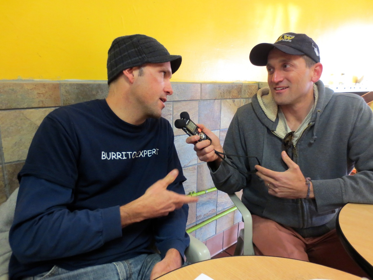 Caption: Charles Hodgkins, aka 'The Burritoeater,' and KALW's Ben Trefny, Credit: Jonathan Lifeson Smith