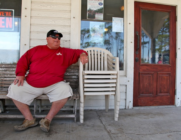 Caption: Jimmy McNeill, owner of the Indian Pass Raw Bar, Credit: Tanner Latham