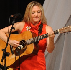 Caption: Rebecca Frazier with some super hot picking on the WoodSongs stage.