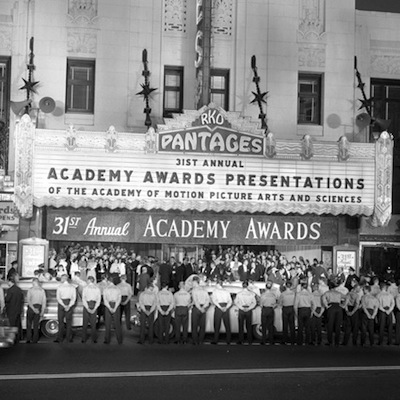 Caption: The Pantages Theater in Los Angeles, decked out for the 1959 Academy Awards, Credit: UCLA Library
