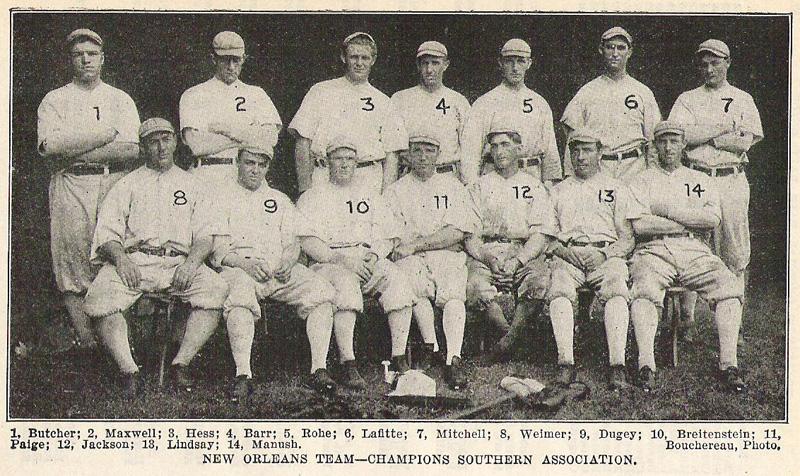 Caption: The 1910 New Orleans Pelicans baseball team; Shoeless Joe Jackson is #12.