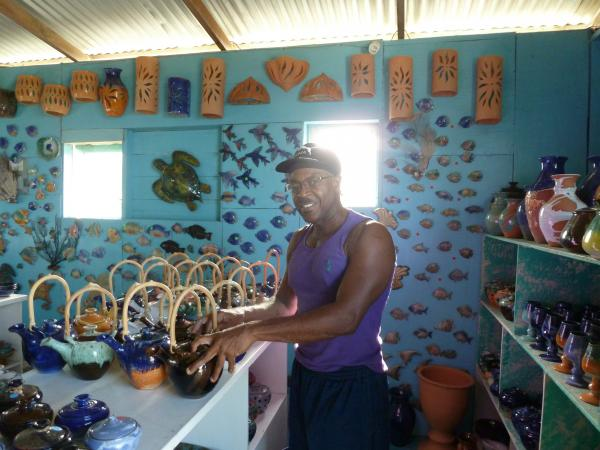 Caption: Potter WInston Paul, at his studio in Chalky Mount, Barbados , Credit: Sarah Kane
