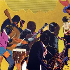 "Caption: ""Out Chorus"" by jazz painter Romare Bearden, 1979-1980."