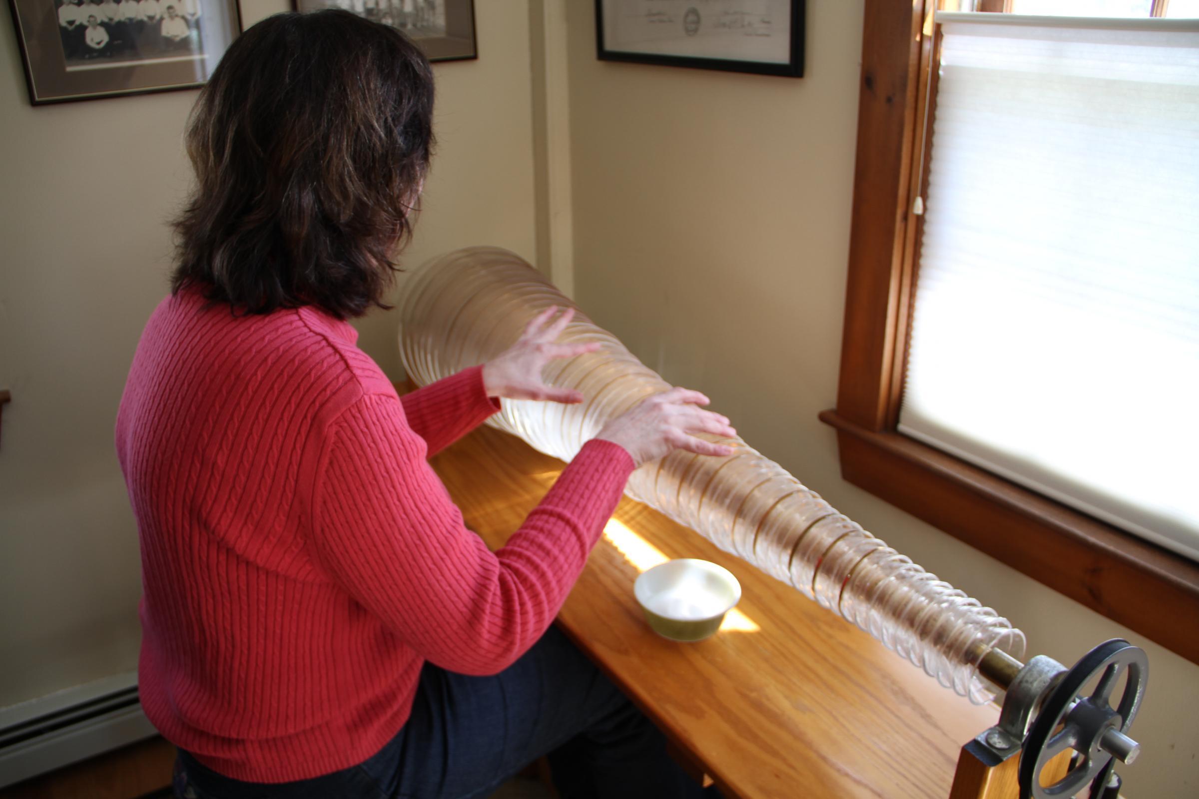 Caption: Carolinn Skyler player the largest Armonica in the world
