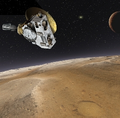 Caption: Artist's conception of New Horizons passing through the Pluto system., Credit: NASA/Thierry Lombry