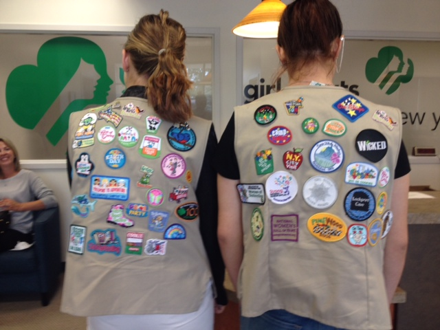 Caption: Girl Scouts of Western New York and their many badges, Credit: WBFO's Eileen Buckley