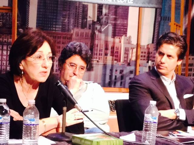 Caption: Dr. Patricia Gándara, co-director of the Civil Rights Project at UCLA, during Radio Bilingüe's forum Latino Education: Crisis and Response. Here with panelists photographer Camilo Vergara and Francisco Nuñez, director of the Young People's Chorus of New Y, Credit: Radio Bilingüe
