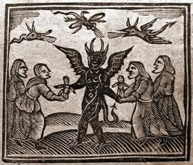 Caption: Agnes Sampson and witches with devi, Credit: Public Domain via Wikimedia Commons