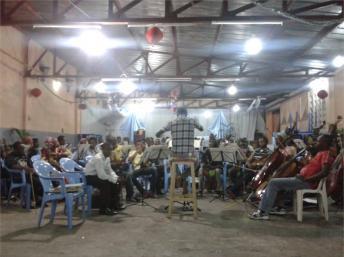 Caption: Kimbanguist Symphony Orchestra rehearsing , Credit: Sarah Elzas