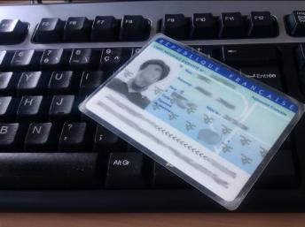 Caption: A French national ID card