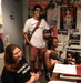 Caption: Ben, Jessica and Robbie recording