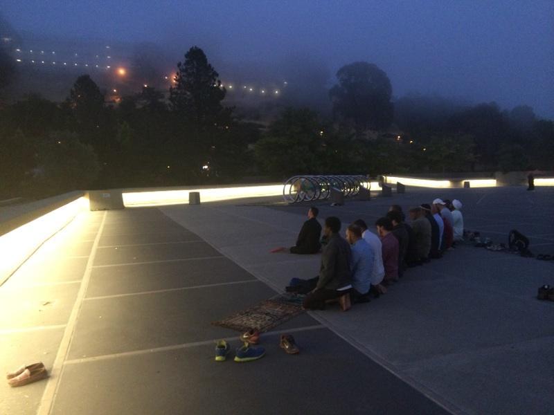Caption: East Bay Muslims pray atop a UC Berkeley hill, Credit: Hana Baba