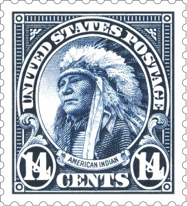 """Caption: Chief Hollow Horn Bear depicted as the """"American Indian"""" on a 14-cent stamp, 1922. , Credit: U.S. Postal Service."""