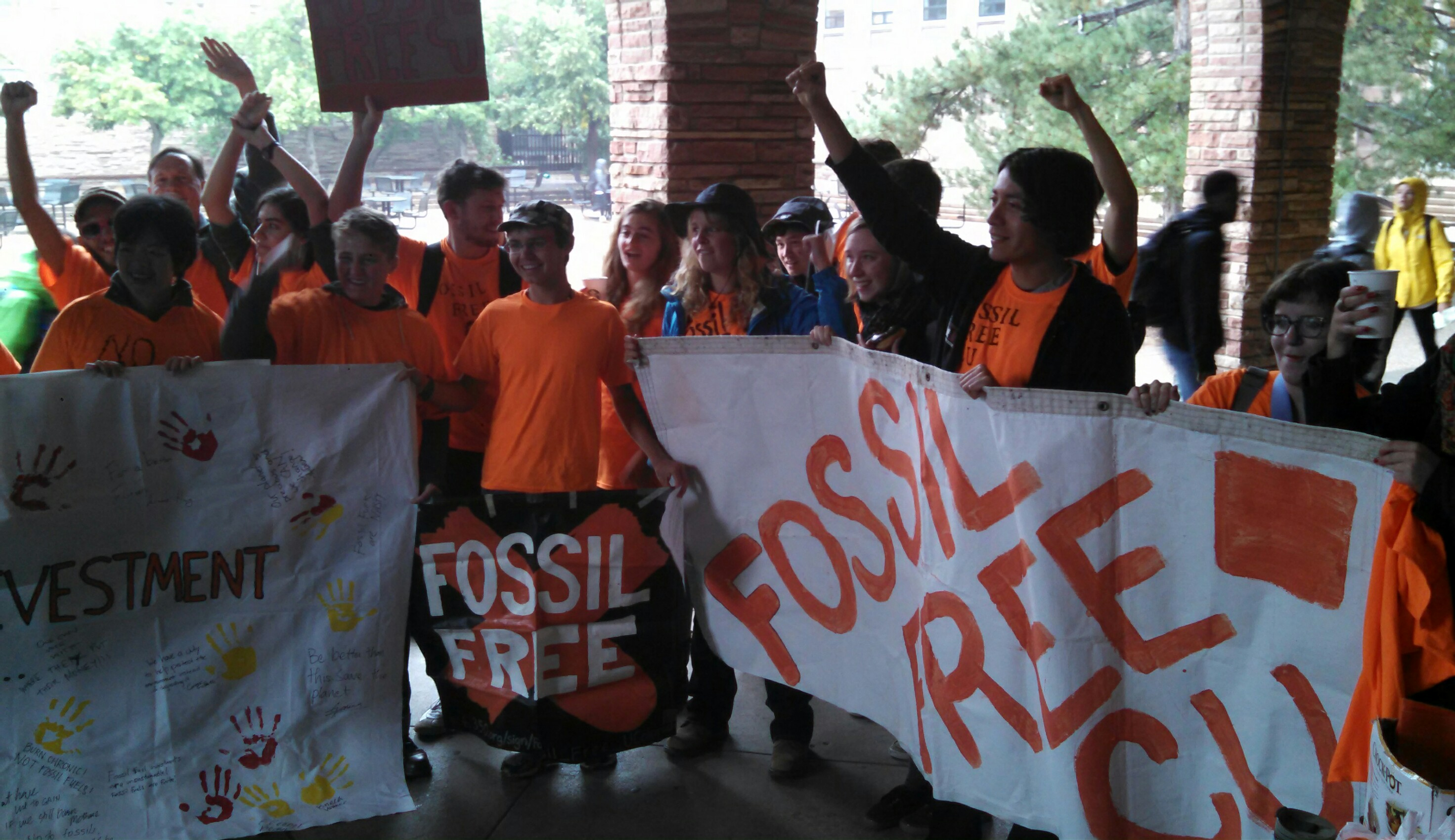 Caption: Student divestment campaigners at CU Boulder, Credit: Hannah Leigh Myers