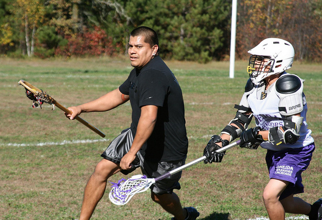 Caption: Players in a lacrosse camp in northern Minnesota., Credit: Flickr: upwiththemooses