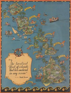 Caption: Cartograph by Ruth Taylor White, for the Hawaii Tourist Bureau, circa 1930. , Credit: Via the University of Oregon's Knight Library.