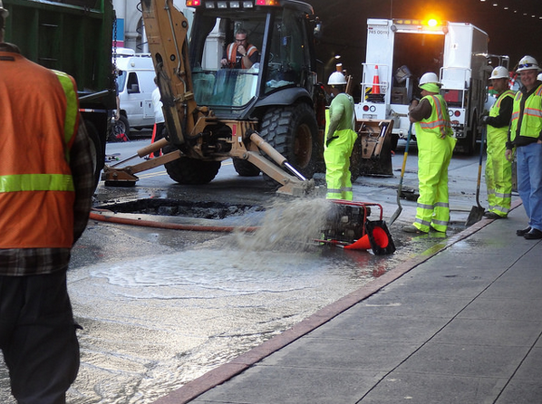 Caption: San Francisco's Stockton tunnel is shut down due to a water main break in March of 2014., Credit: Flickr user toyzrus8