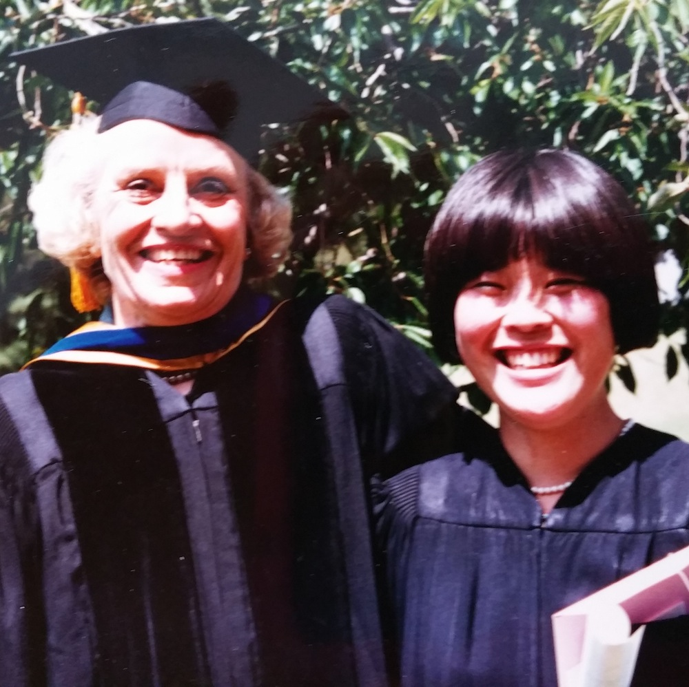 Caption: Dr. Marian Diamond and Wendy Suzuki on Wendy's undergrad graduation day