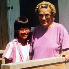 Caption: Michelle and grandma Lilian Gale.