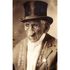 Caption: Old John Smith with top hat.