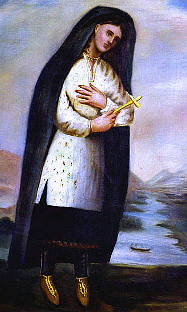 Caption: Saint Kateri Tekakwitha, painted by Claude Chuchetiere c.1696., Credit: Wikimedia Commons