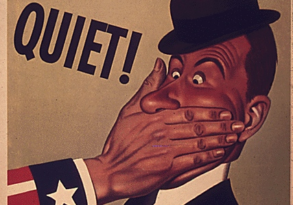 "Caption: ""Quiet! Loose talk can cost lives."" Office of War information 1943., Credit: National Archives"