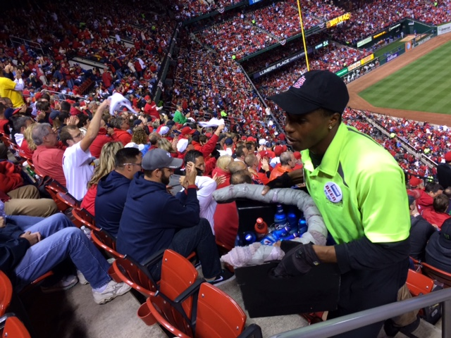 Caption: Beer vendor, Busch Stadium, Credit: John Biewen