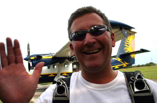 Caption: David Hartsock at the airfield.