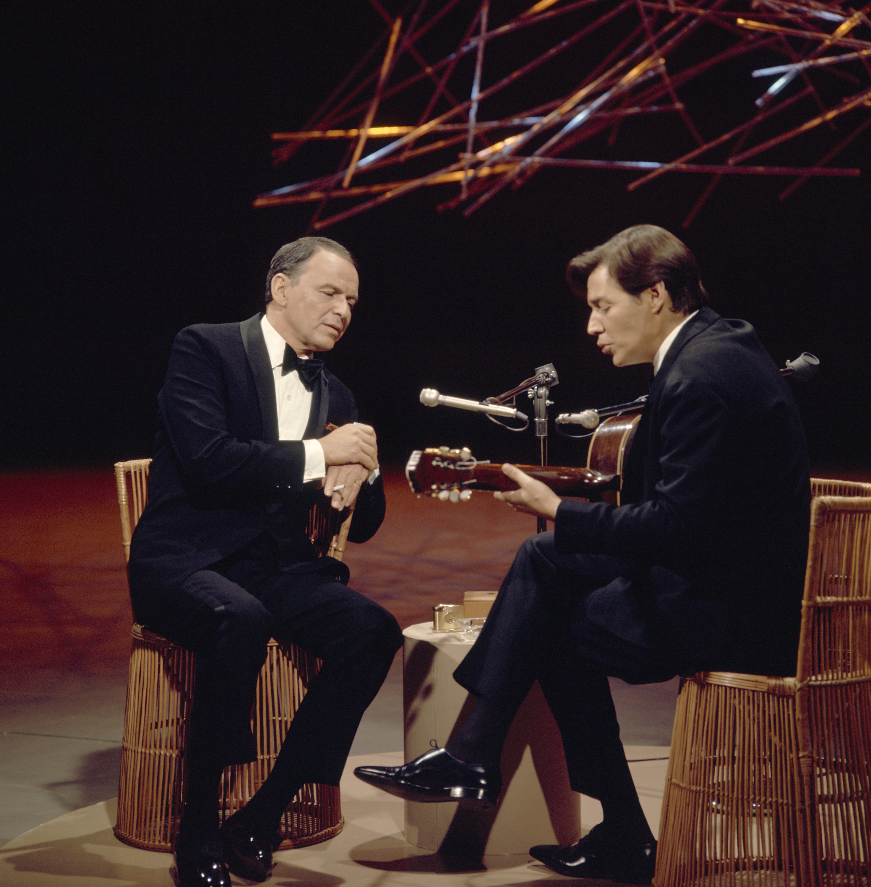 Caption: Frank Sinatra and Antonio Carlos Jobim on FRANK SINATRA: A MAN AND HIS MUSIC PART III -- Aired 11/13/1967, Credit: NBC/Getty