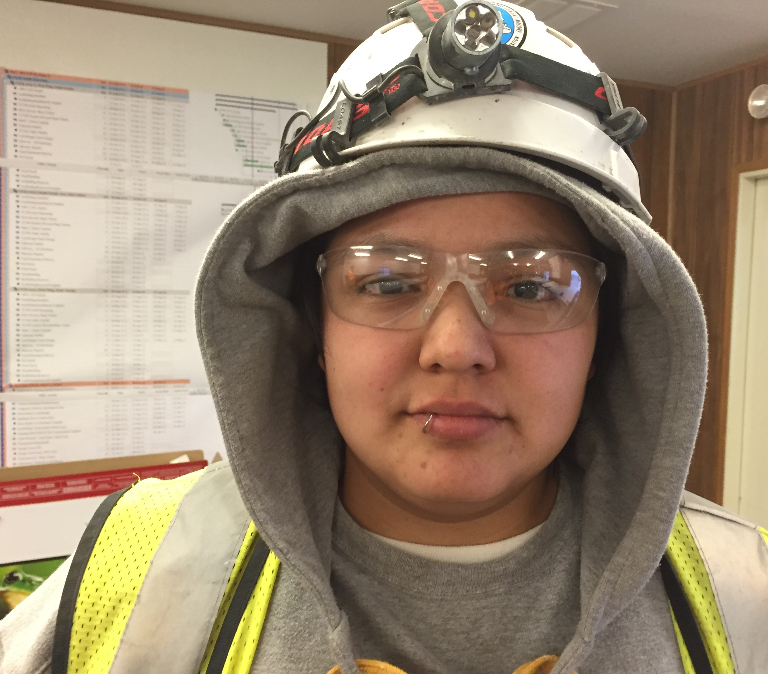 Caption: Marisa Goodsky stands in the job site trailer at the state Capitol in St. Paul., Credit: Melissa Townsend