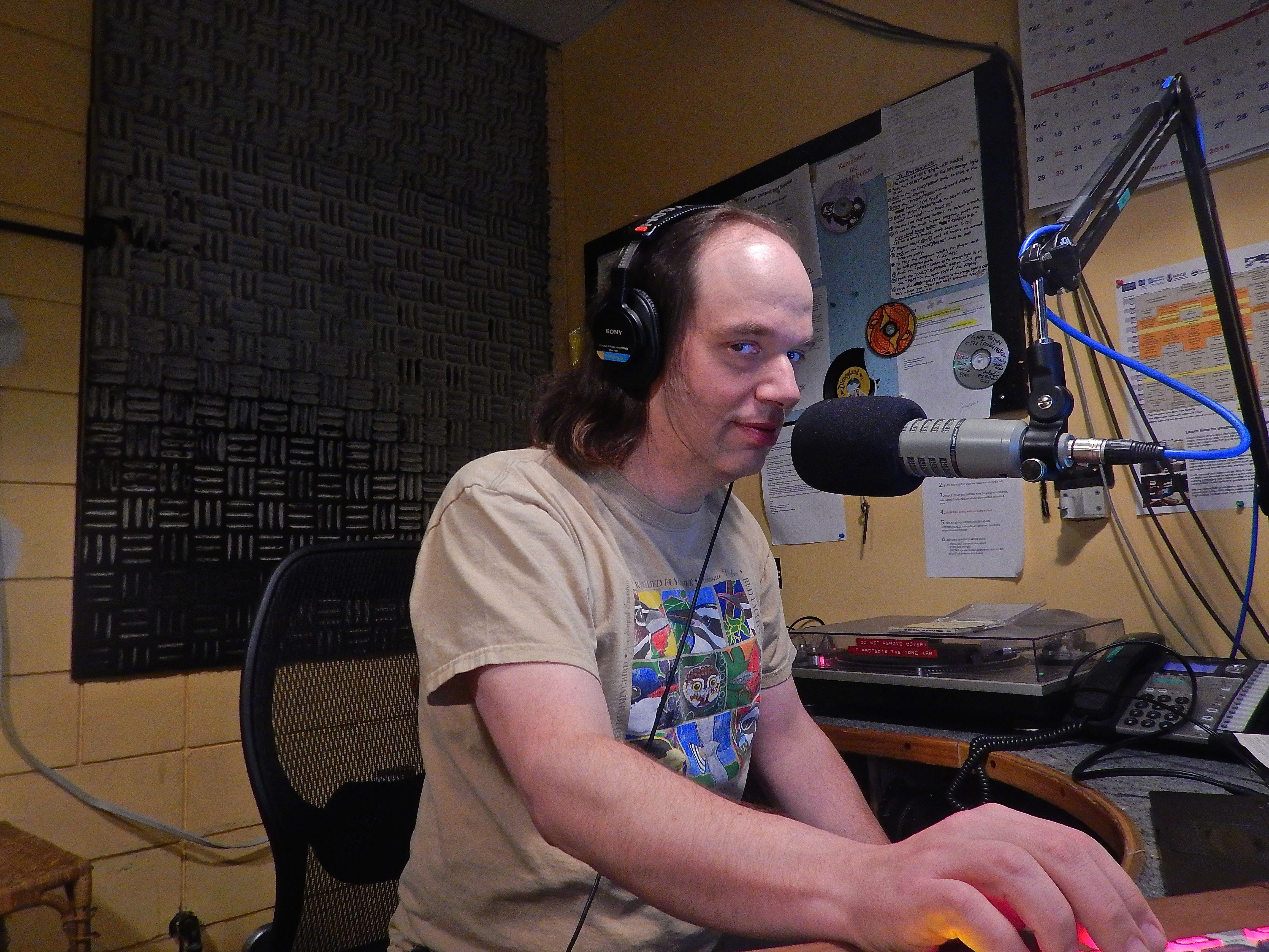 Caption: On the air at WGDR-Plainfield/WGDH-Hardwick, doing The Origin Series, Credit: Brian Aust