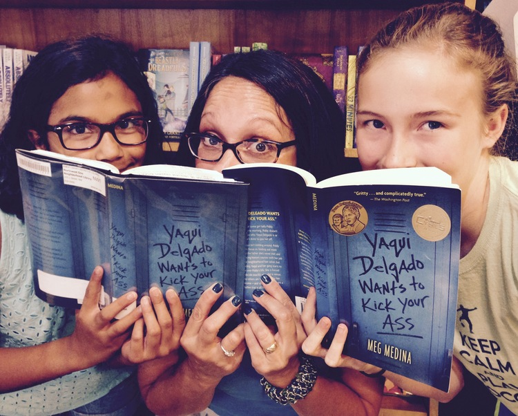 Caption: Lila Trujillo and Julia Cooper join writer Meg Medina to discuss her book.