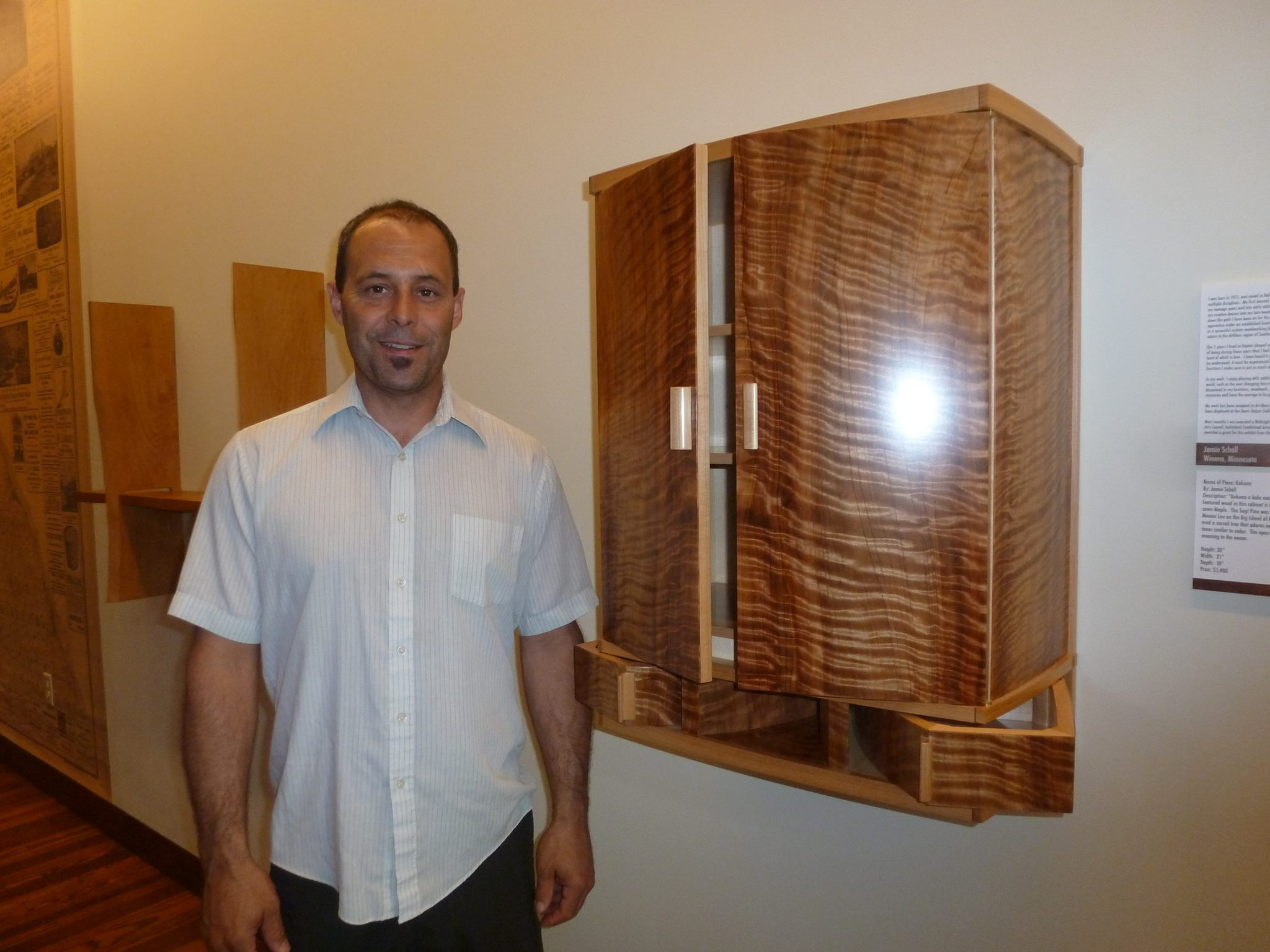 Caption: Jamie Schell and The Fine Art of Funiture Exhibit at The Winona History Center, Credit: Sheri Schell