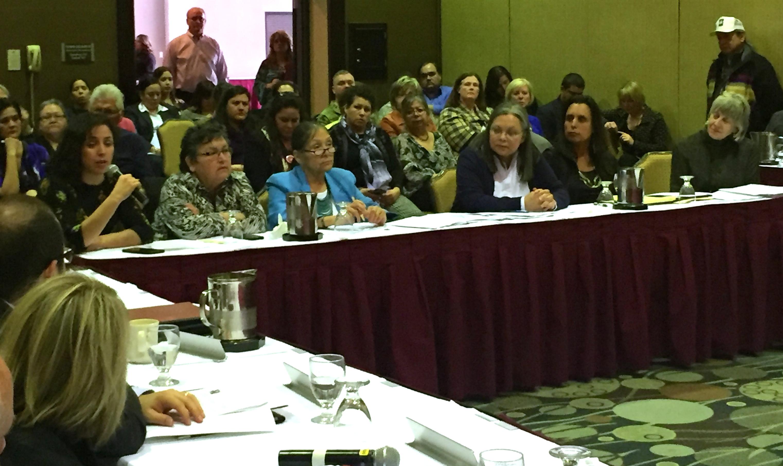 Caption: From Left: Mpls. City Councilwoman Alondra Cano, Sharon Day, Rayna Churchill (MIAC Director), Rep. Susan Allen, Winona LaDuke, Rep. Karen Clark  , Credit: Aisha Gomez