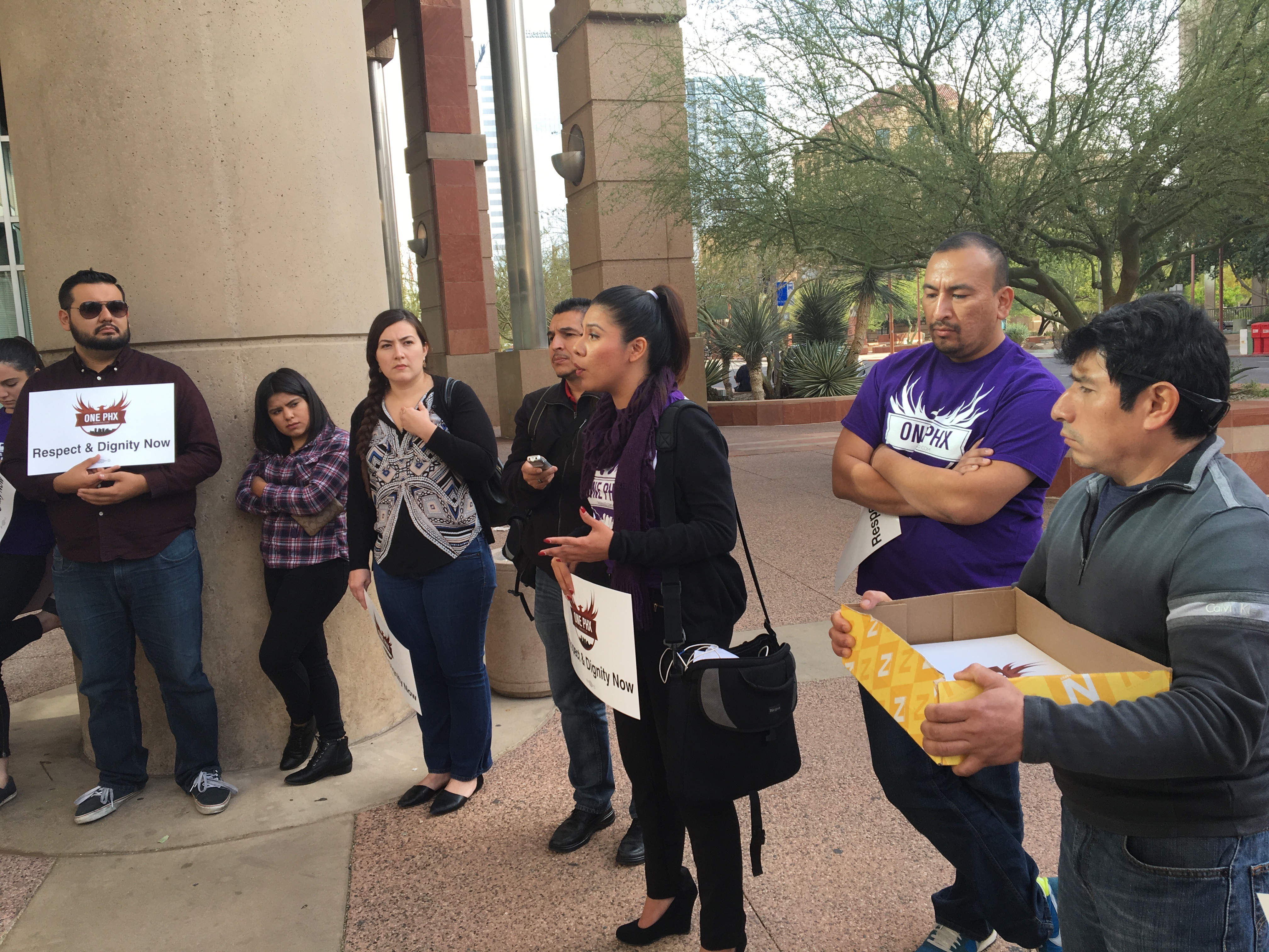 Caption: Viridiana Hernández lobbying at the Arizona State Legislature against the bill that would ban cities from creating their own city ID if that is extended to undocumented immigrants., Credit: Valeria Fernández