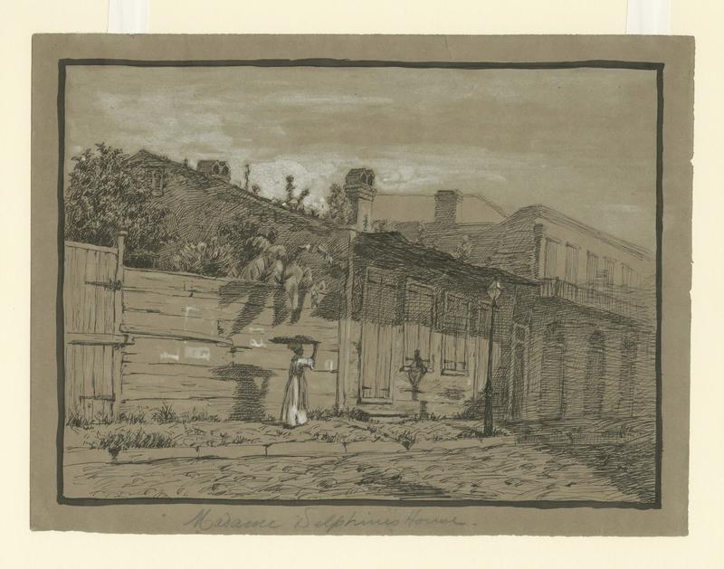 Caption: Imaginative view of Madame Delphine's House, 253 Royal Street in the Vieux Carre., Credit: KEMBLE, EDWARD WINDSOR / HISTORIC NEW ORLEANS COLLECTION