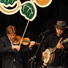Caption: Tim O'Brien and Ron Block return to the WoodSongs Stage.