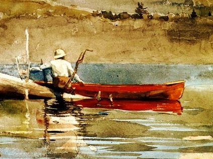 Caption: The Red Canoe by Winslow Homer