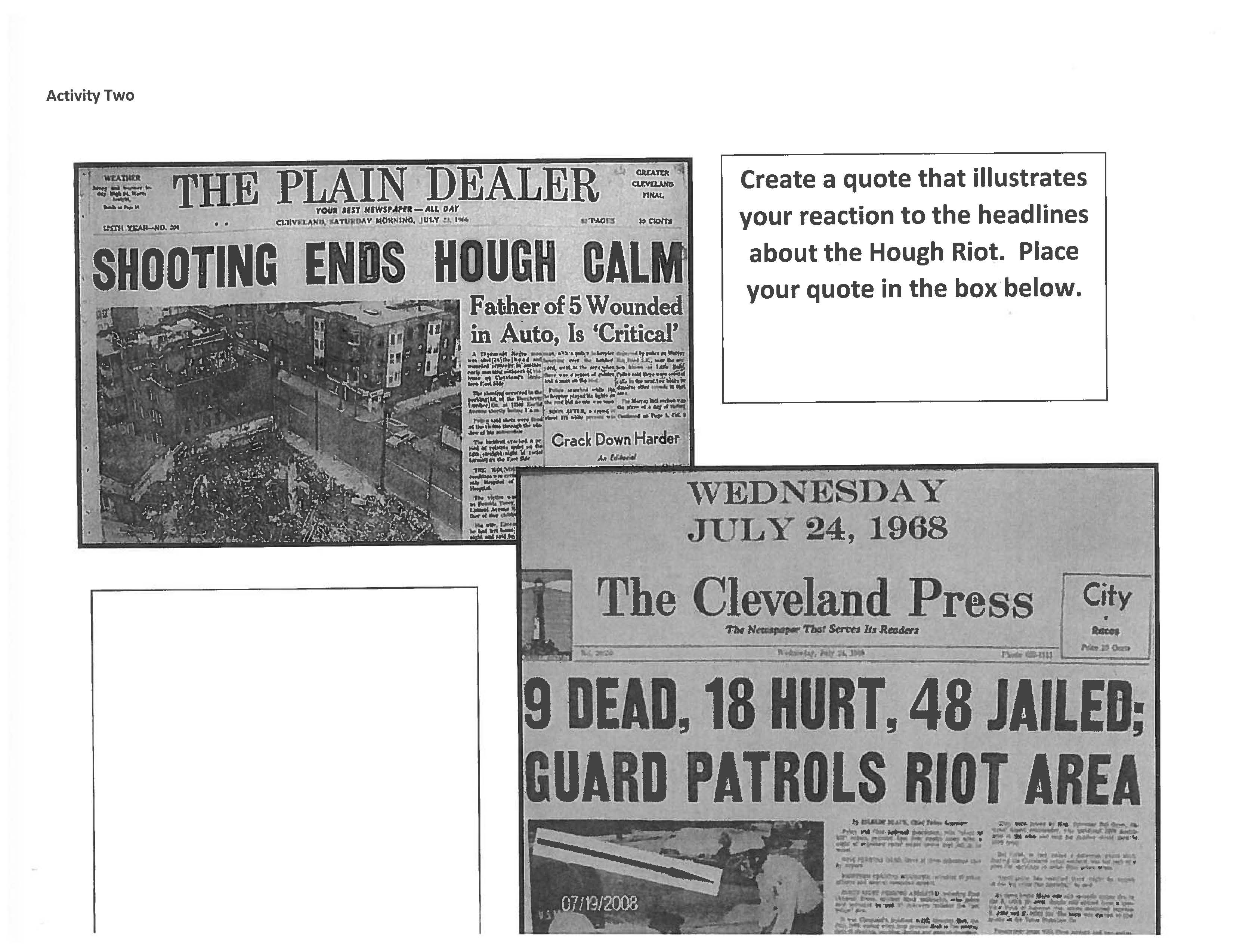 Caption: Gadison's lesson asks students to react to newspaper headlines from the Hough and Glenville riots.