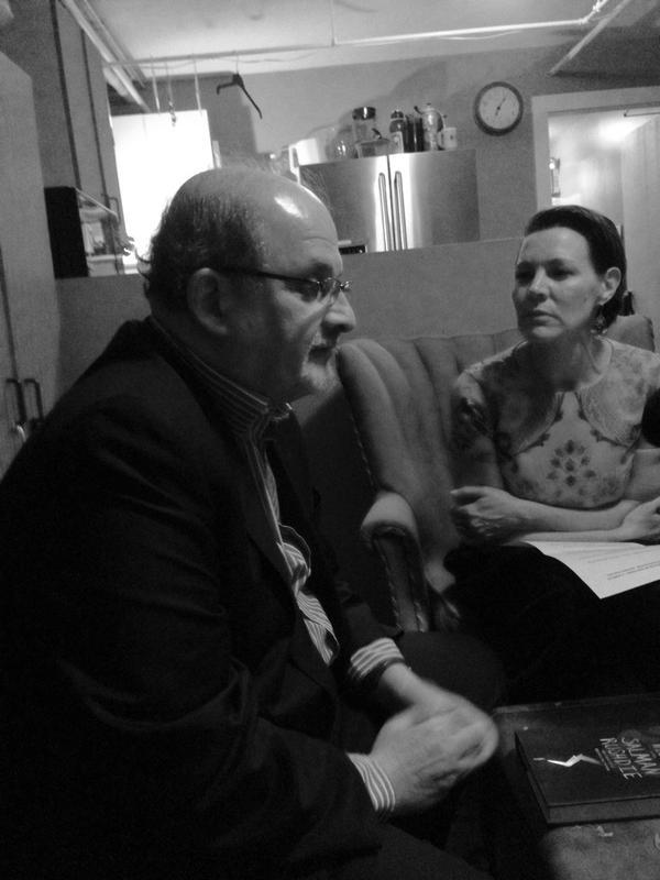 Caption: Salman Rushdie and Virginia Prescott backstage at The Music Hall in Portsmouth, Credit: Sara Plourde