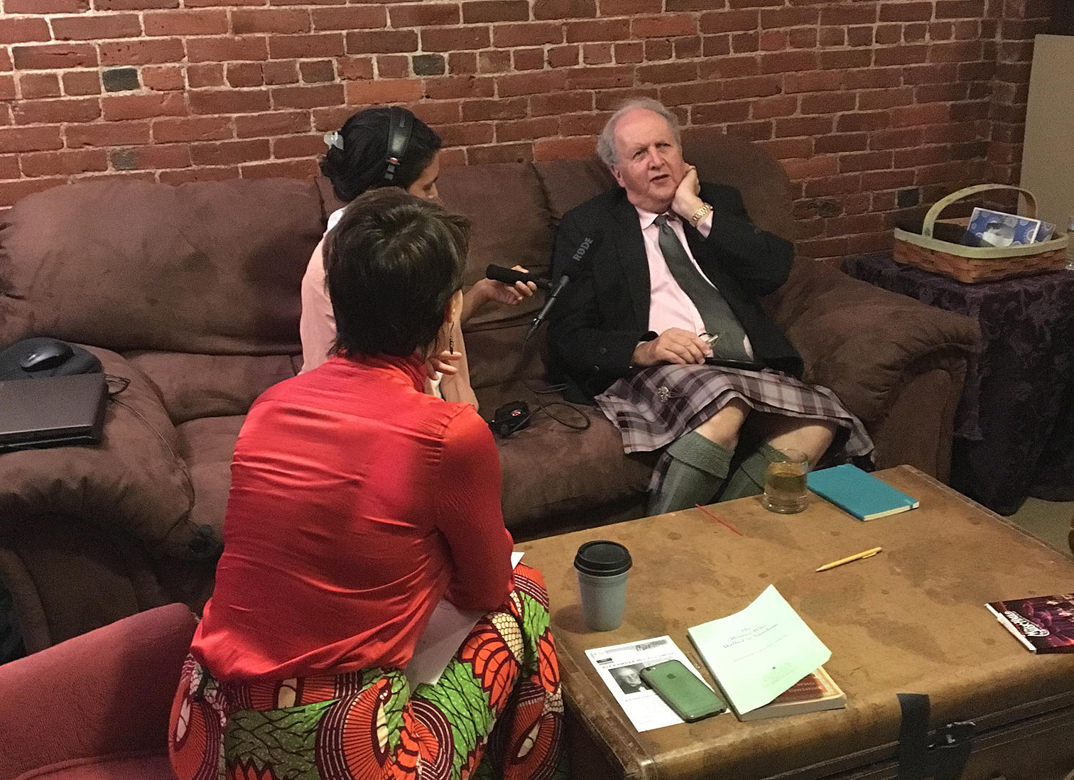 Caption: Virginia Prescott chats with Alexander McCall Smith backstage at The Music Hall in Portsmouth, Credit: Sara Plourde