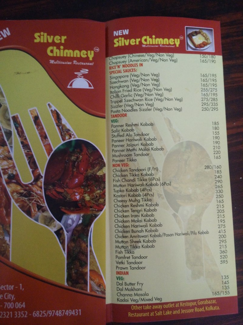 Caption: A sample menu, Credit: Sandip Roy